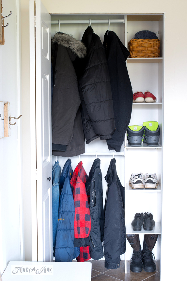 Entry closet organizing using a cheap kit | funkyjunkinteriors.net