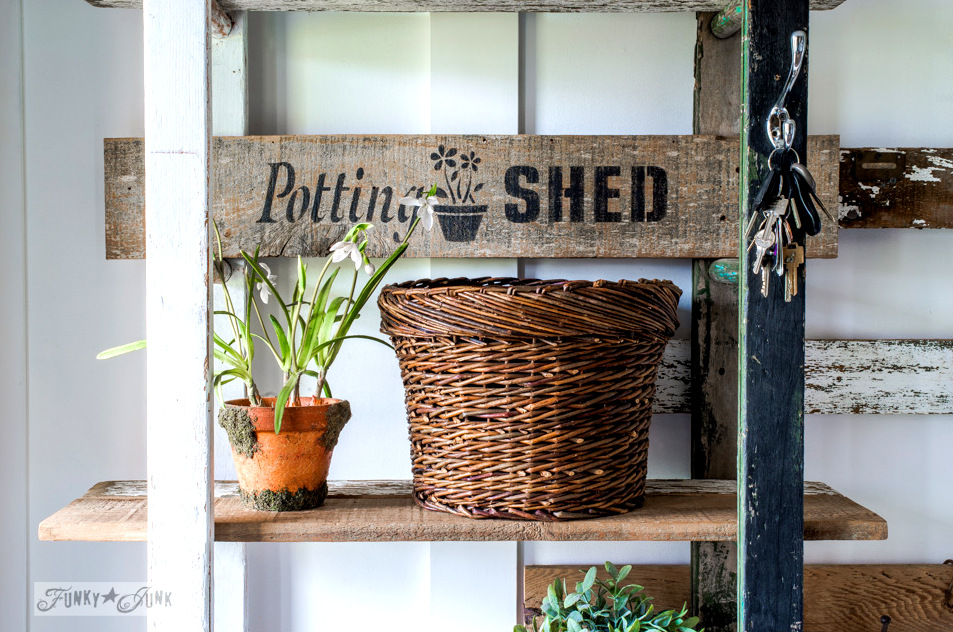 Rustic Potting Shed sign, part of a 2 ladder shelf in an entry, using Funky Junk's Old Sign Stencils | funkyjunkinteriors.net