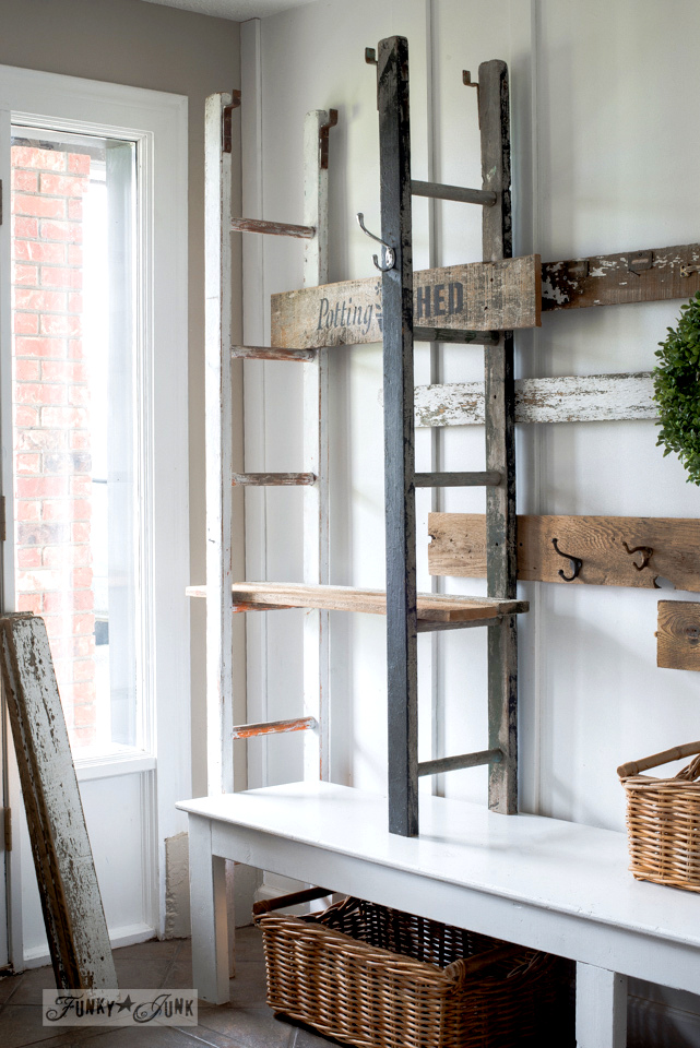Quirky 2 Ladder Shelving In The Entry