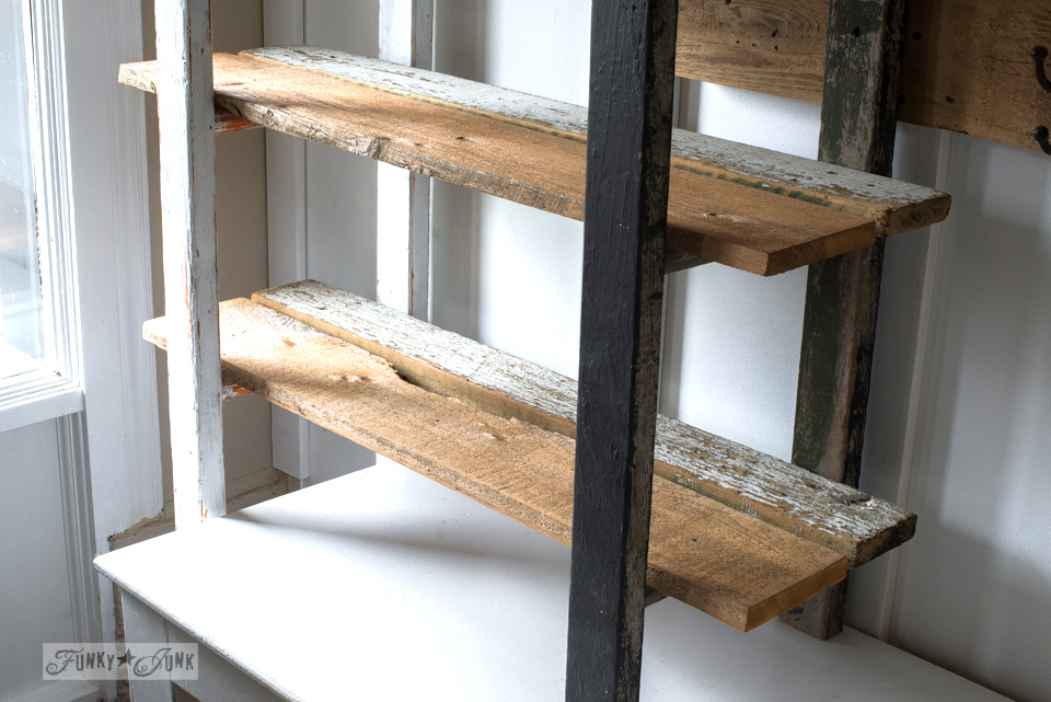 Quirky 2 ladder shelving in the entry with reclaimed wood planks for shelves, with a Potting Shed sign made with Funky Junk's Old Sign Stencils   funkyjunkinteriors.net