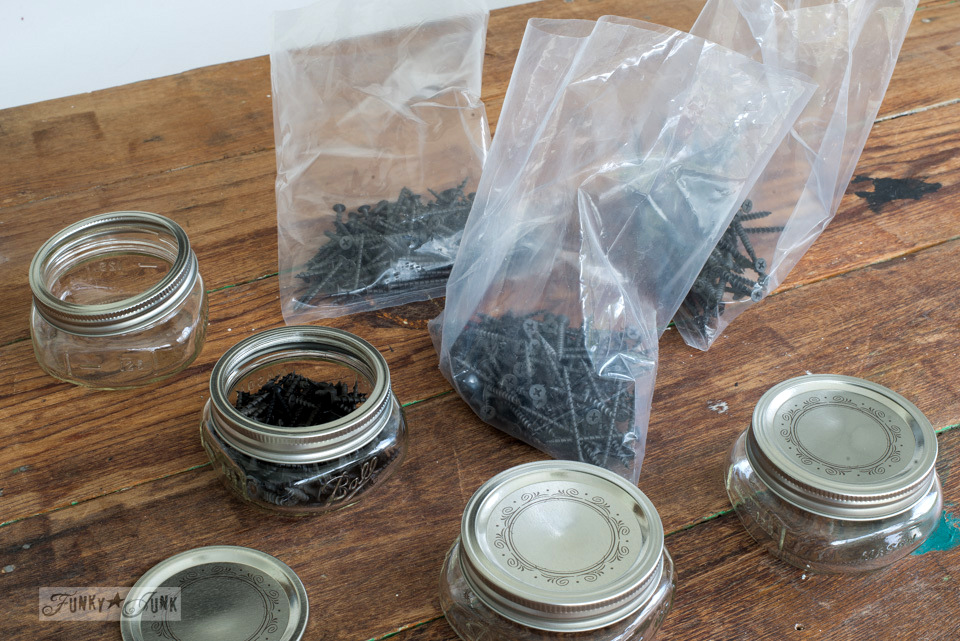 Compact mason jars to organize screws inside a mini tool station | funkyjunkinteriors.net