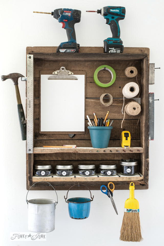 Table top indoor mini tool station, by funkyjunkinteriors.net