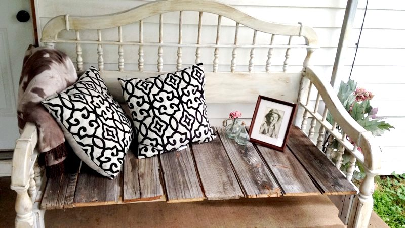 DIY headboard bench, by Pastels and Macarons, featured on Funky Junk Interiors