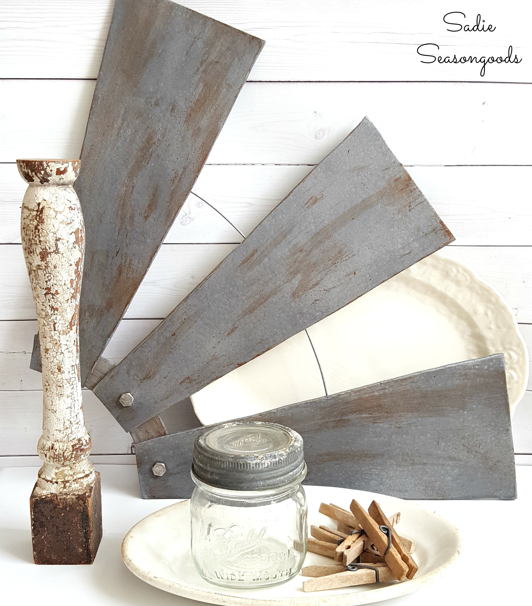 Repurposed ceiling fan windmill blades, by Sadie Seasongoods, featured on Funky Junk Interiors