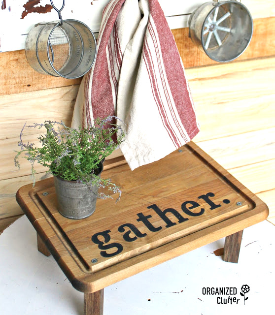 Repurposed cutting board Gather shelf, by Organized Clutter, featured on Funky Junk Interiors