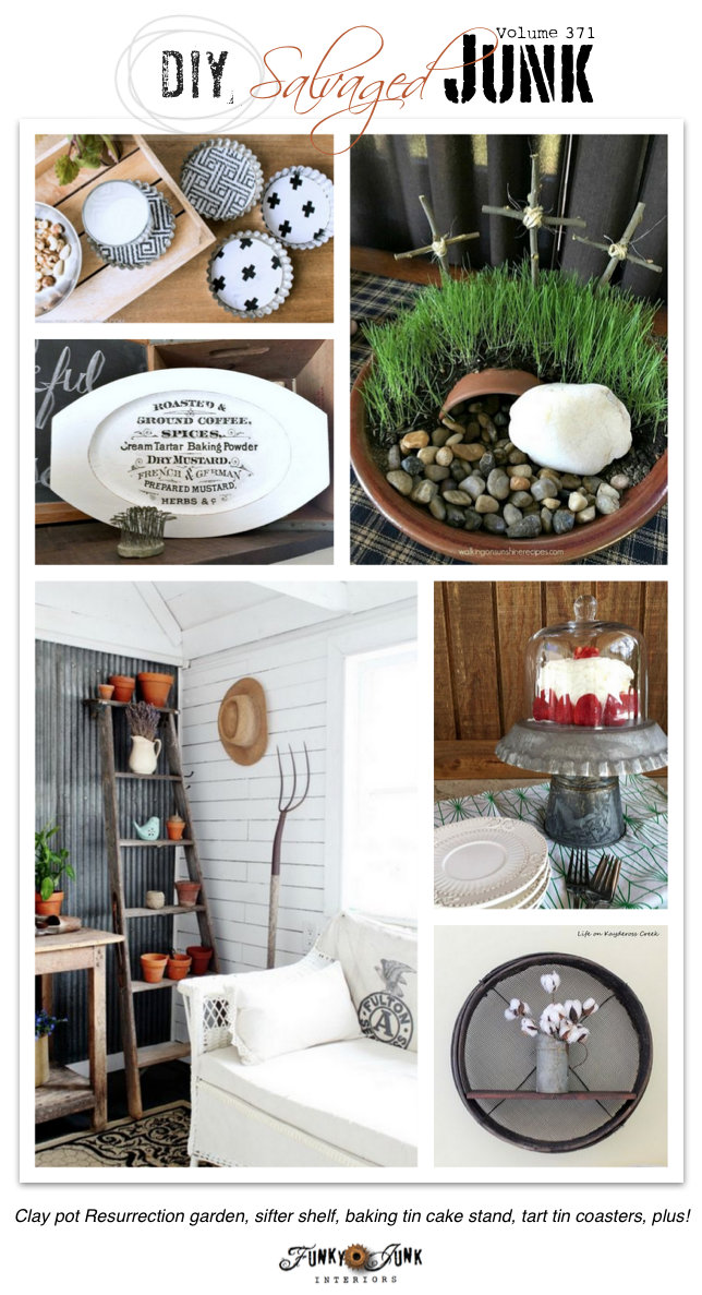 DIY Salvaged Junk Projects 371 - Clay pot resurrection garden, tart tin coasters, antique sifter shelf, plus! Upcycled projects on funkyjunkinteriors.net