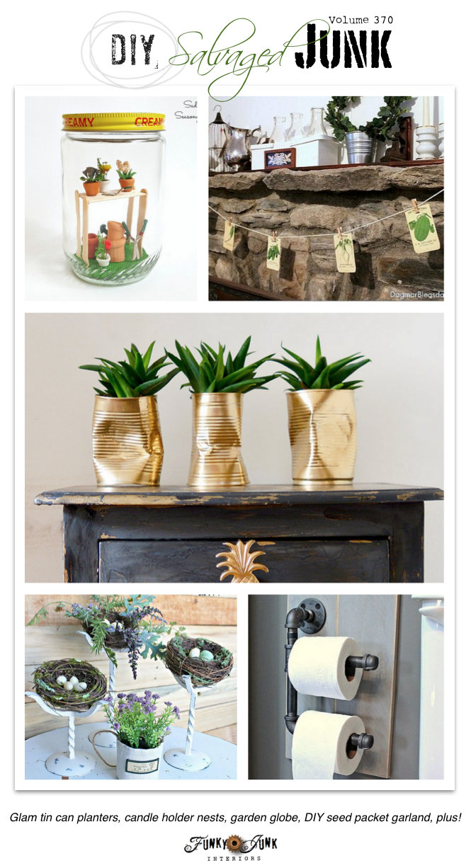 DIY Salvaged Junk Projects 370 - garden globe, seed packet garland, candle stick nests, plus! Features and link party on funkjunkinteriors.net