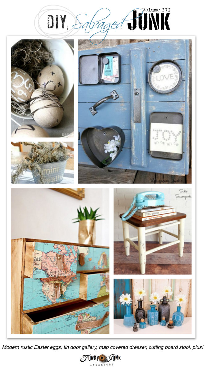 DIY Salvaged Junk Projects 372 - upcycled features with a new project link party on funkyjunkinteriors.net