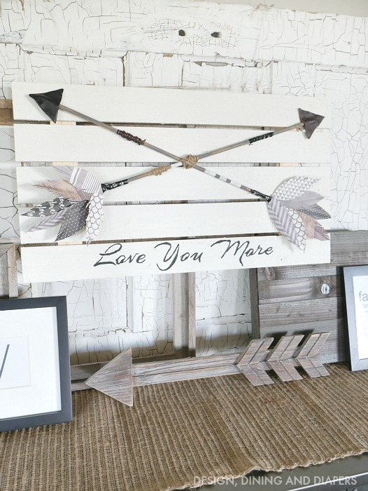 DIY wooden dowel arrows, by Designing, Dining and Diapers, featured on Funky Junk Interiors