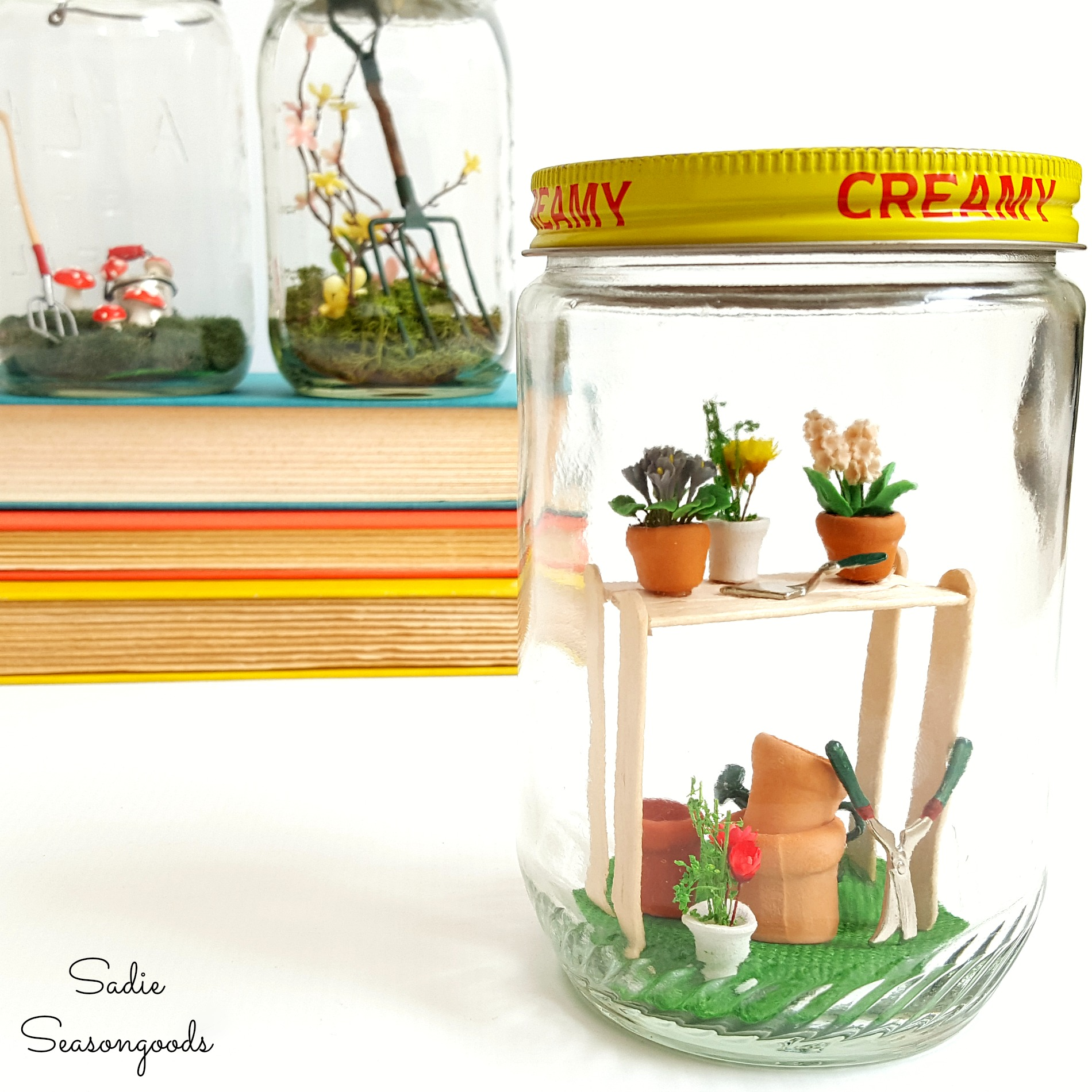 Garden themed spring jar globes, by Sadie Seasongoods, featured on Funky Junk Interiors