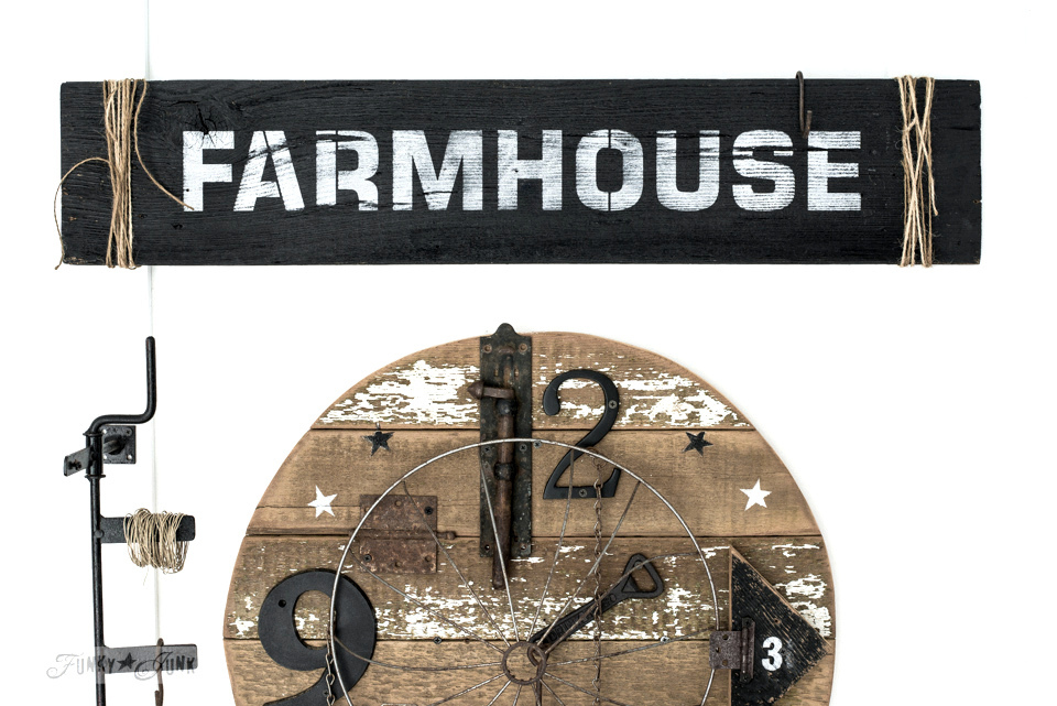 How to stencil a rustically charming Farmhouse sign! The perfect touch for farmhouse decorating. Click to read full tutorial and where to find the stencil!