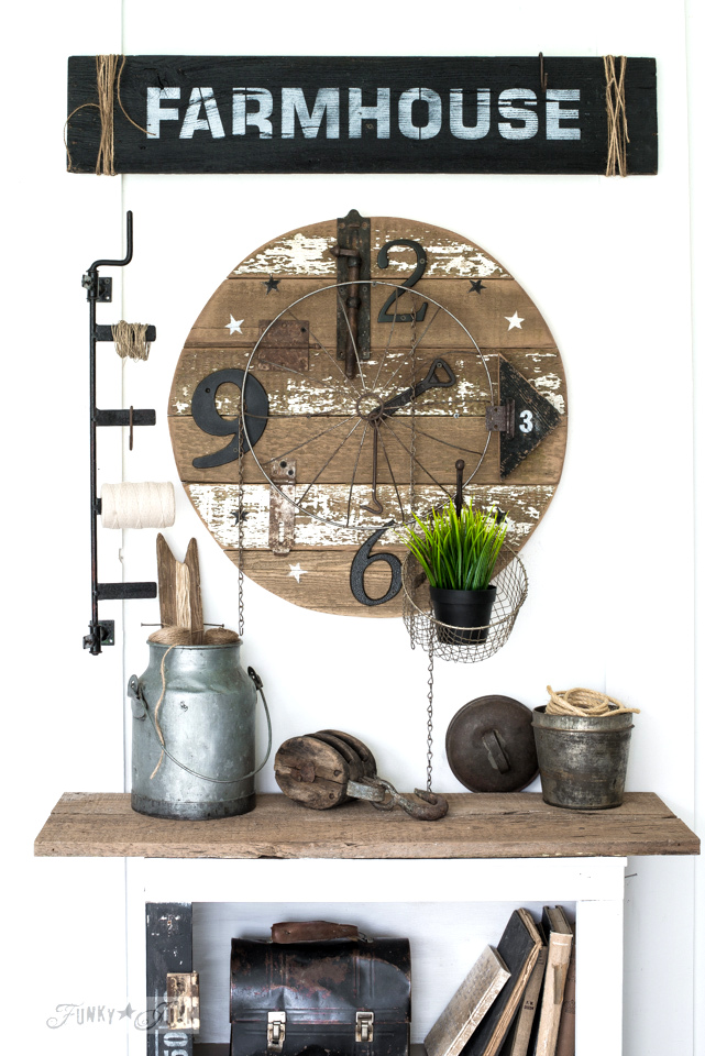 Salvaged junk clock and Farmhouse sign made from reclaimed wood, with Funky Junk's Old Sign Stencils | funkyjunkinteriors.net