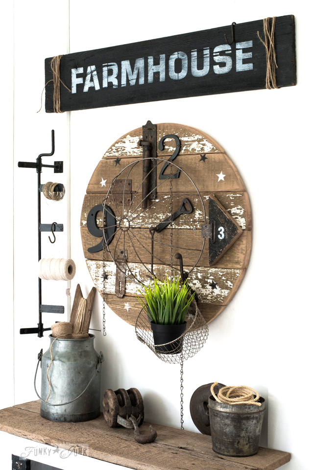 Salvaged Farmhouse clock and sign featured in Somerset Home Spring 2018 - tutorial on Funky Junk Interiors
