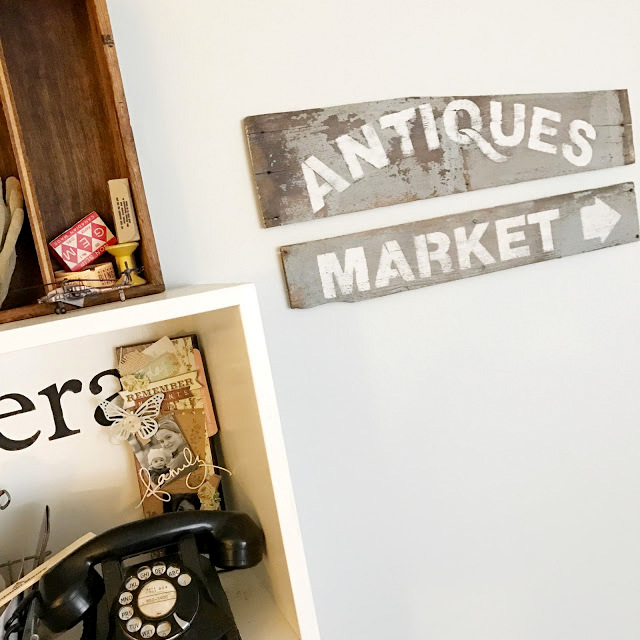 Authentic Antiques Market signs, by BeYOUtiful You, featured on Funky Junk Interiors
