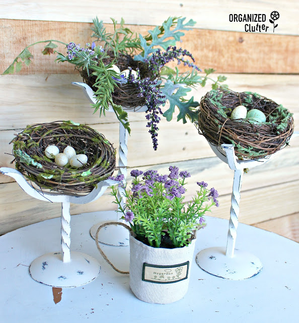 Repurposed candle holder spring nests, by Organized Clutter, featured on Funky Junk Interiors