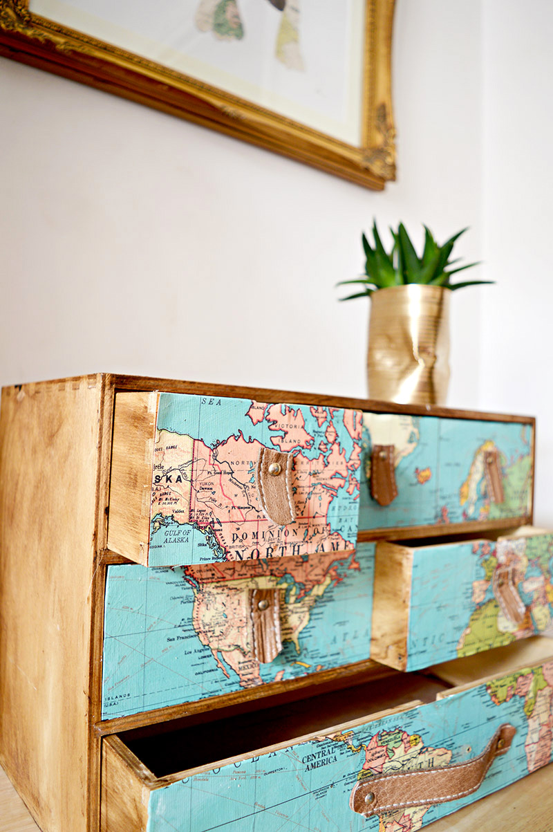 Maps and leather Ikea hack dresser, by Pillar Box Blue, featured on Funky Junk Interiors