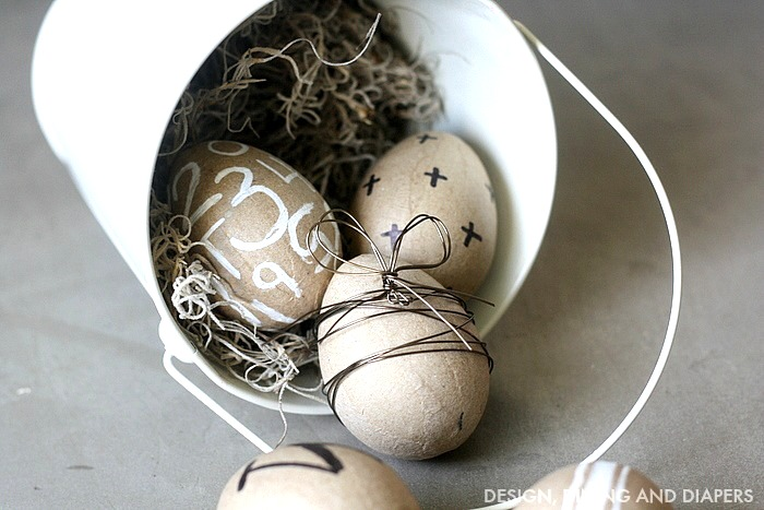 Modern and rustic Easter eggs, by Design Dining and Diapers, featured on Funky Junk Interiors