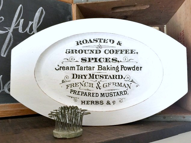 Image transferred food-themed farmhouse tray, by Homeroad, featured on Funky Junk Interiors