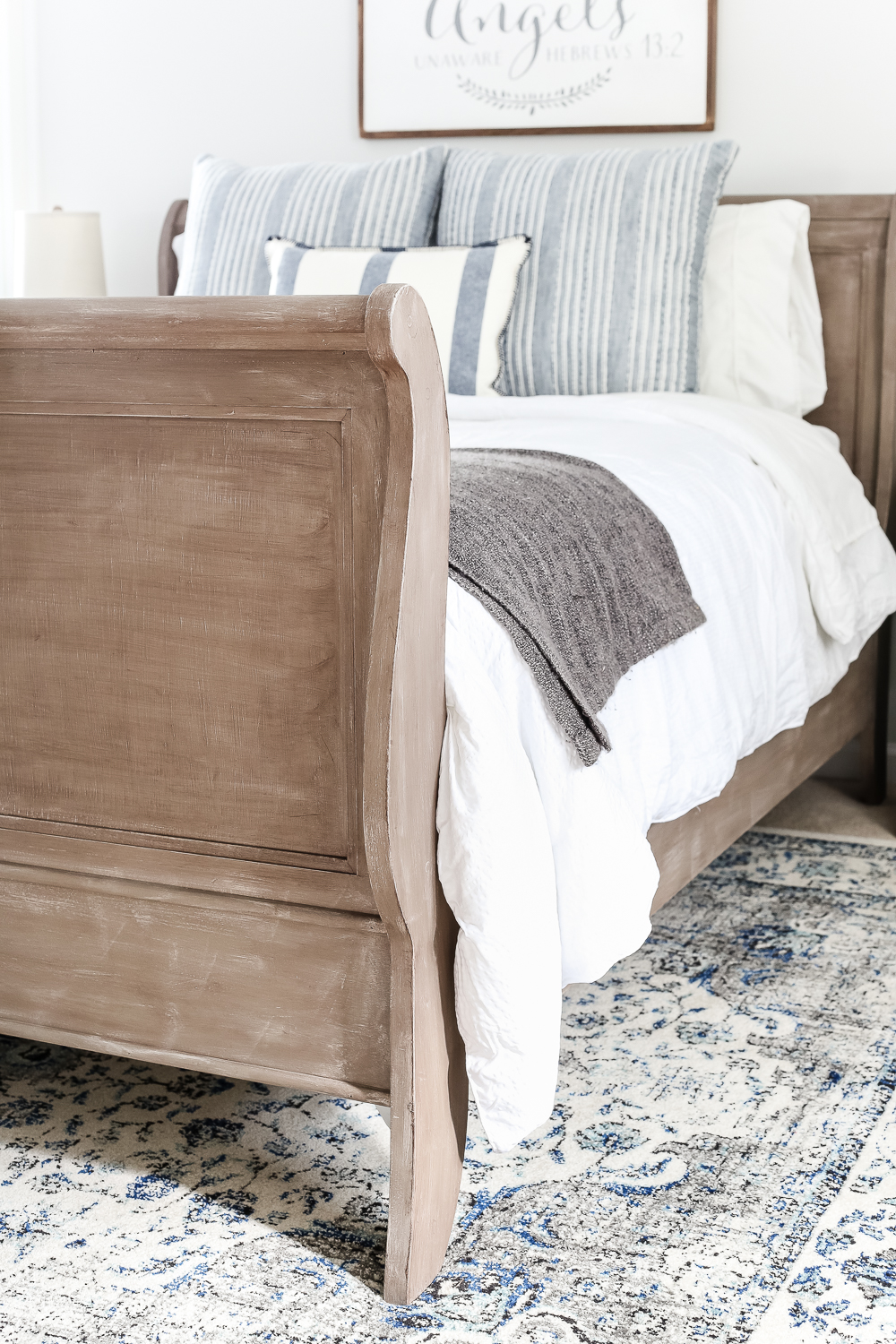 Painted weathered wood bed makeover, by Bless'er House, featured on Funky Junk Interiors