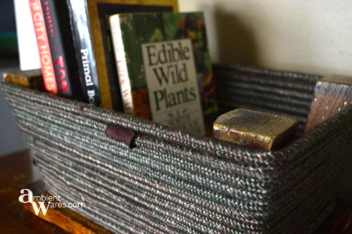 Repurposed step stool basket, by Ambient Wares, featured on Funky Junk Interiors