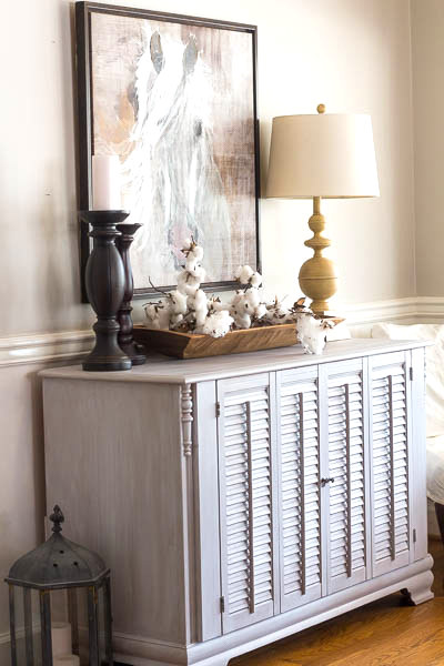 Dresser makeover with shutters, by Savvy Apron, featured on Funky Junk Interiors