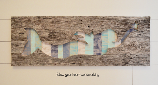 Reclaimed wood mermaid beach wall art, by Follow Your Heart Woodworking, featured on Funky Junk Interiors