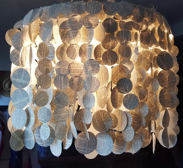 Book page chandelier, by Make The Best Of Things, featured on Funky Junk Interiors