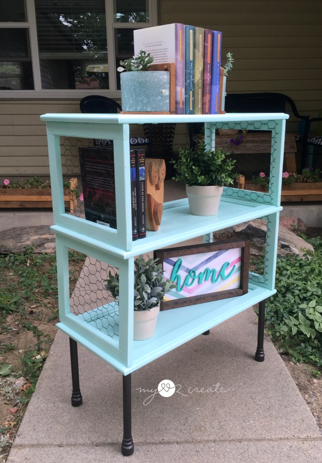 Bookshelf from cupboard doors, by My Love 2 Create, featured on Funky Junk Interiors