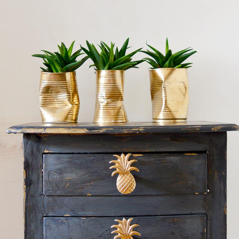 Crushed tin can planters, by Pillar Box Blue, featured on Funky Junk Interiors