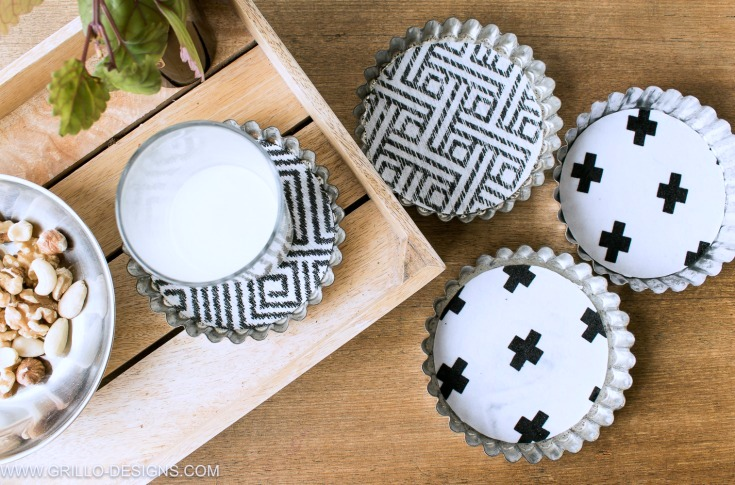 Tin tart coasters, by Grillo Designs, featured on Funky Junk Interiors