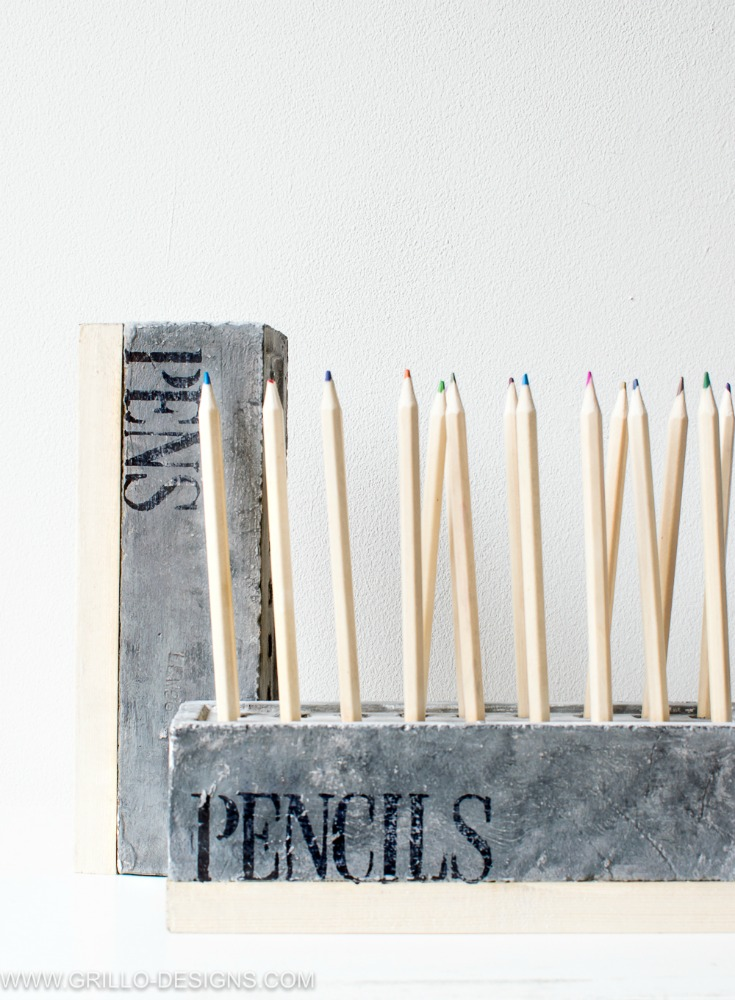 Brick pencil holder by Grillo Designs, featured on Funky Junk Interiors