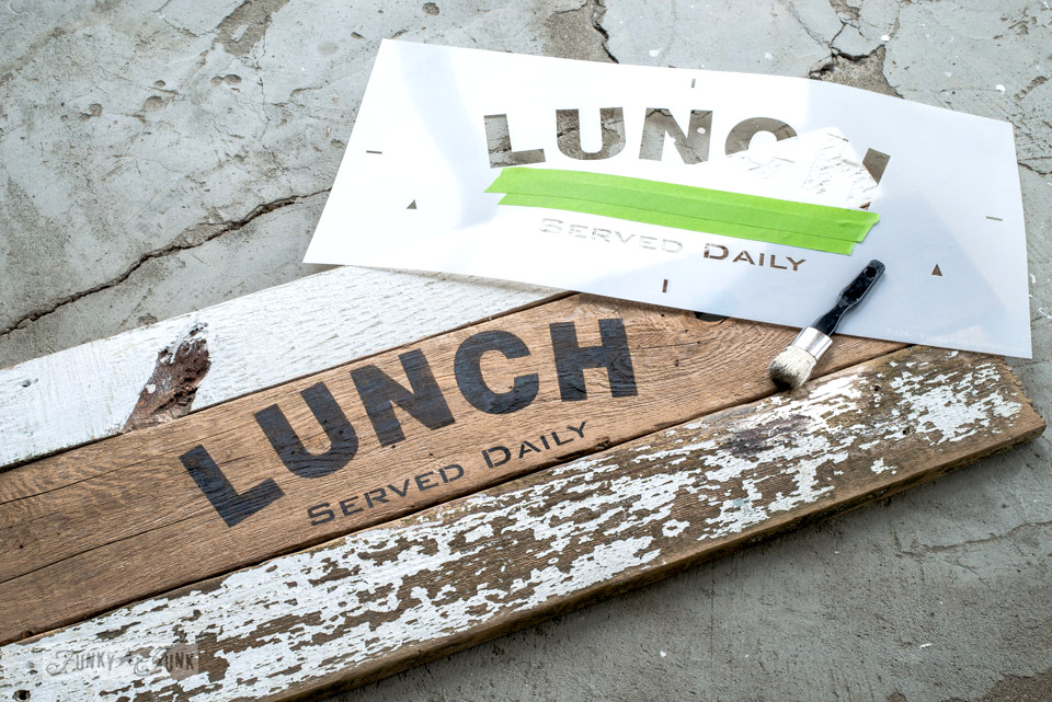 Reclaimed wood scraps to make an interchangeable kitchen LUNCH sign with Funky Junk's Old Sign Stencils | funkyjunkinteriors.net