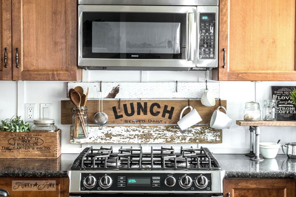 interchangeable kitchen signs with Pantry, Lunch, Coffee with Funky Junk's Old Sign Stencils-002