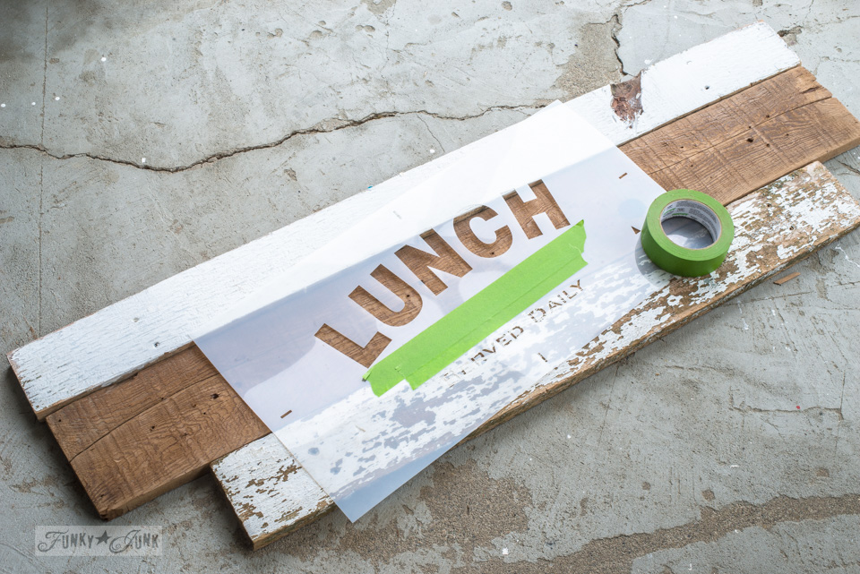 Reclaimed wood scraps to make an interchangeable kitchen sign with Funky Junk's Old Sign Stencils | funkyjunkinteriors.net