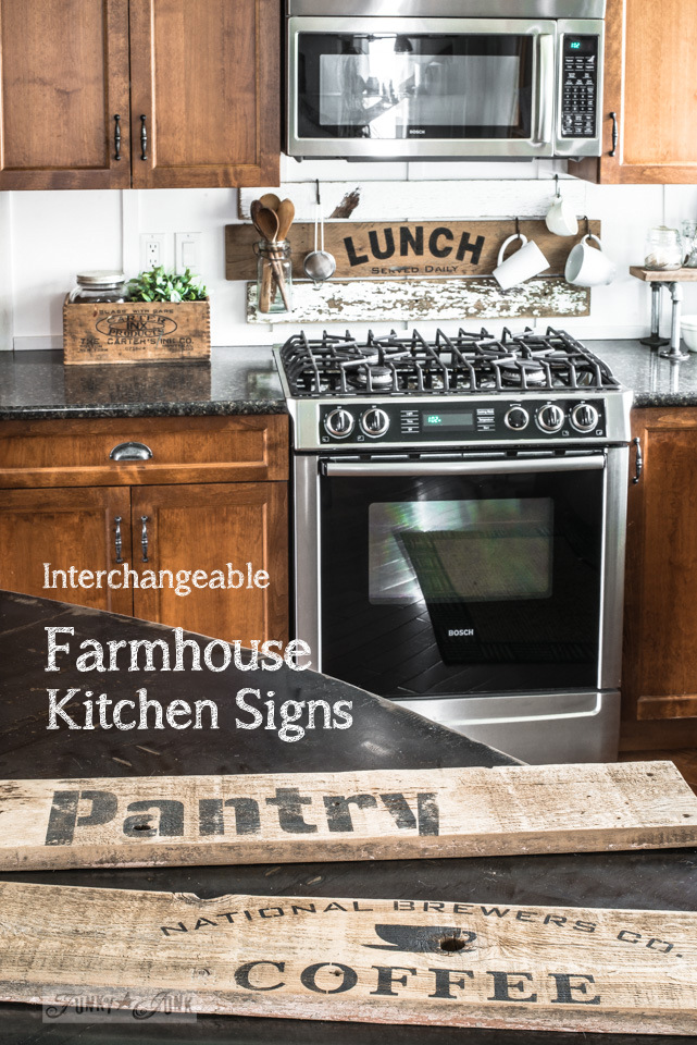 Learn how to make interchangeable kitchen signs with scrap wood and stencils!