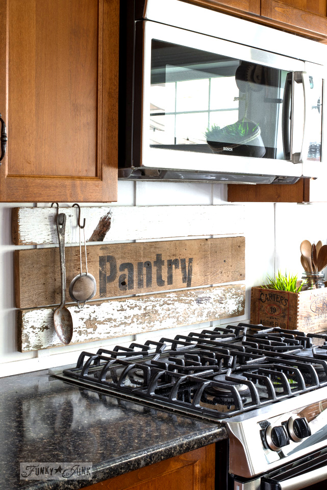 Interchangeable rustic farmhouse kitchen signs with Pantry, Lunch, Coffee using Funky Junk's Old Sign Stencils | funkyjunkinteriors.net