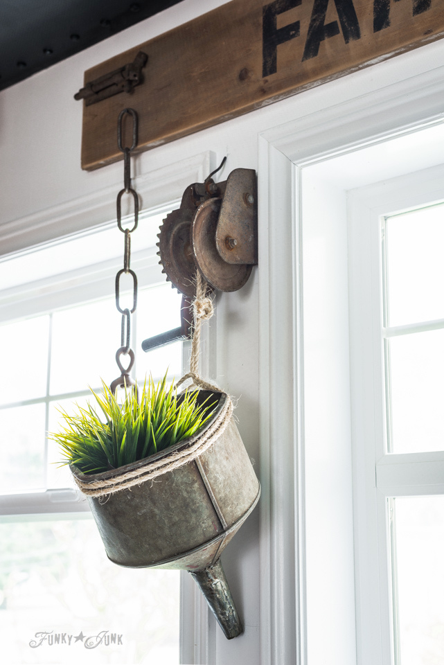 Old funnel plant hanger in an industrial farmhouse kitchen | funkyjunkinteriors.net