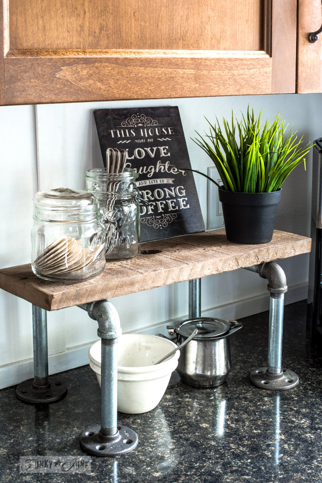 Kitchen coffee station pipe shelf in an industrial farmhouse kitchen | funkyjunkinteriors.net