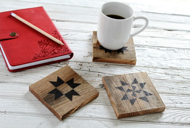 Barn quilt coasters, by Knick of Time, featured on Funky Junk Interiors