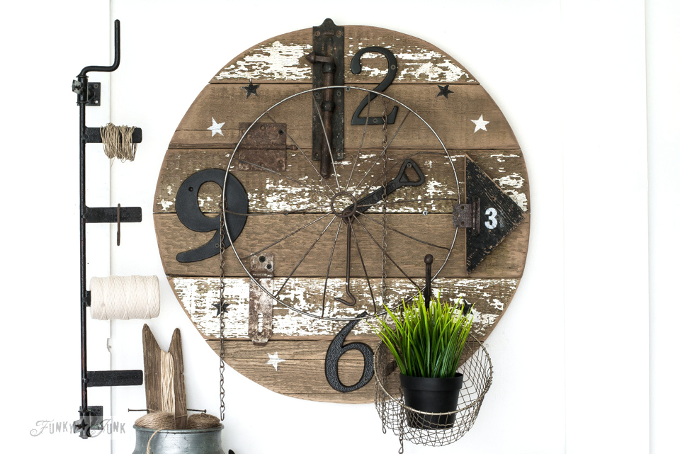 Learn how to build a rustically charming faux farmhouse clock with sign! No clock kit required! The perfect industrial touch to your home decor! Click to read full tutorial.