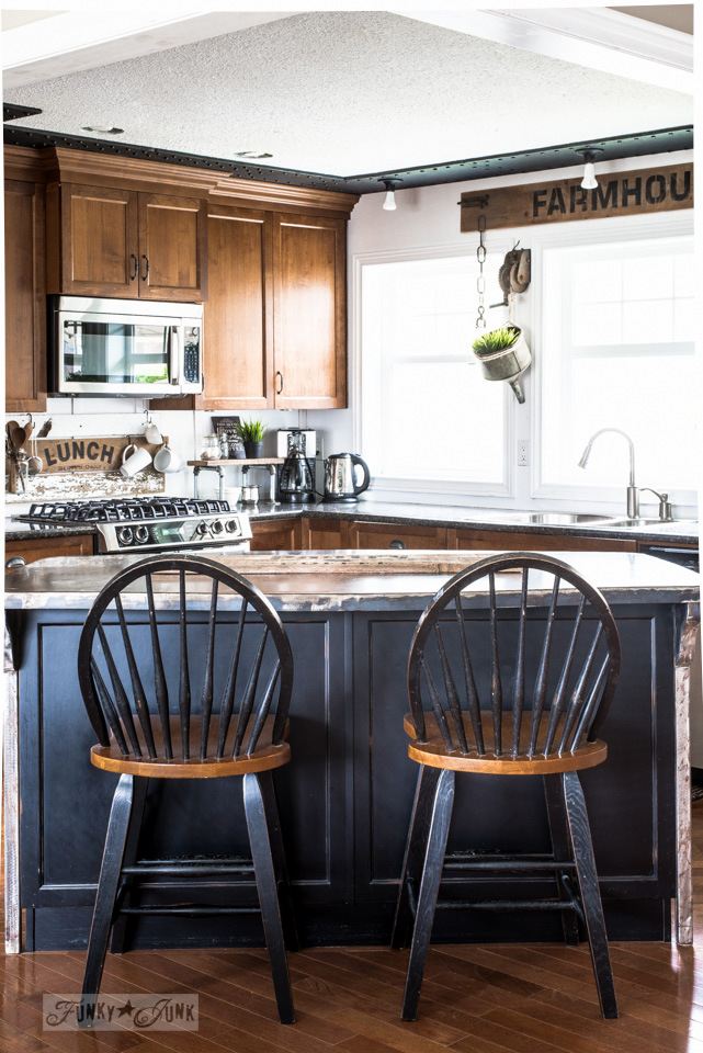 Rustic industrial farmhouse kitchen makeover with metal island
