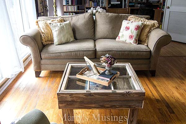 Repurposed window coffee table, by Marty's Musings, featured on Funky Junk Interiors