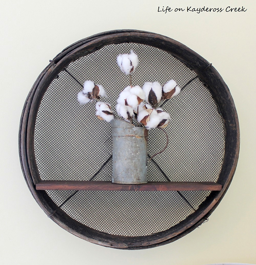 Antique soil sifter shelf, by Life on Kaydeross Creek, featured on Funky Junk Interiors