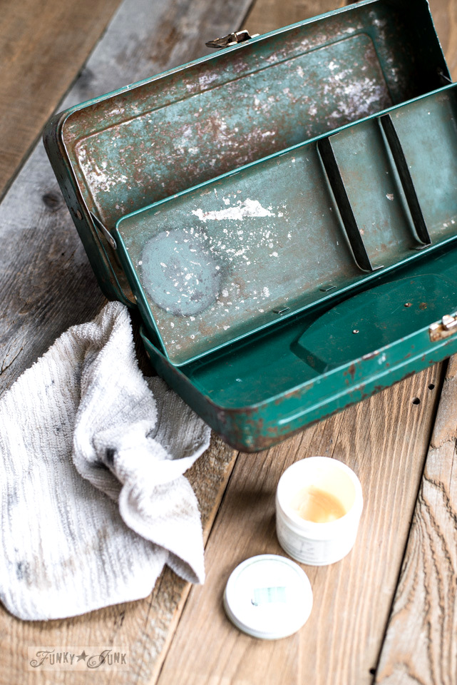 Miss Mustard Seed's Furniture Wax for cleaning up a vintage green tackle box used as an office organizer | funkyjunkinteriors.net