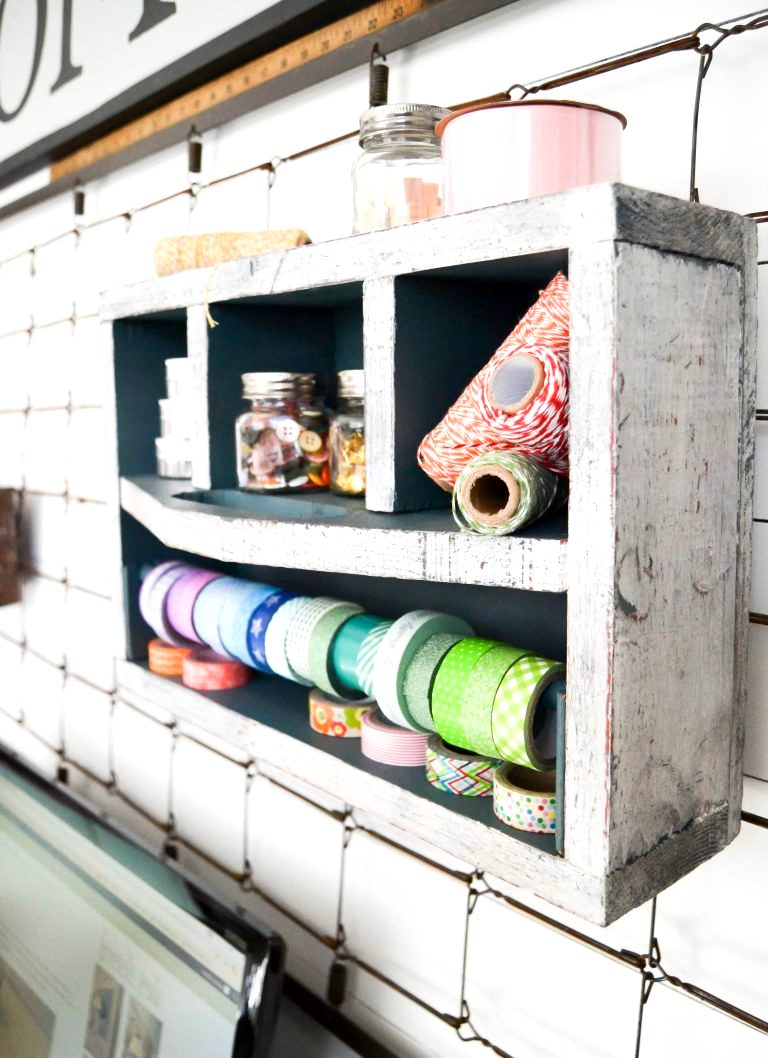 Toolbox ribbon storage on a wall, by My Creative Days, featured on Funky Junk Interiors