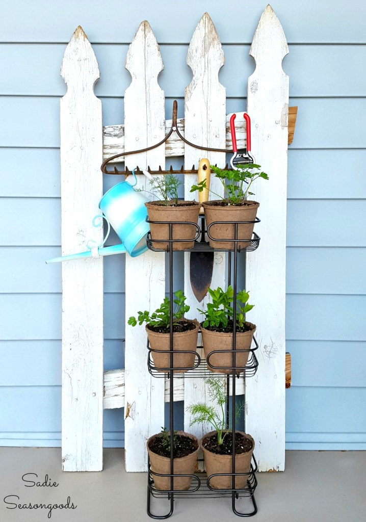 Shower caddy herb garden, by Sadie Seasongoods, featured on Funky Junk Interiors