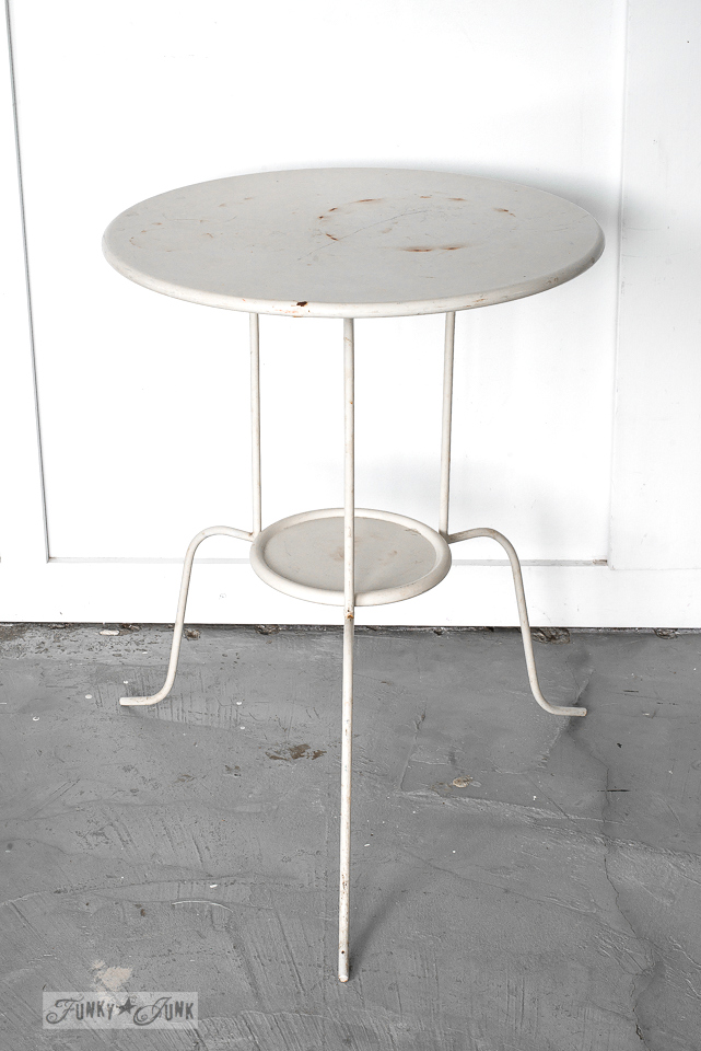 Ikea white metal side table - before the Buffalo Check stencil treatment | funkyjunkinteriors.net
