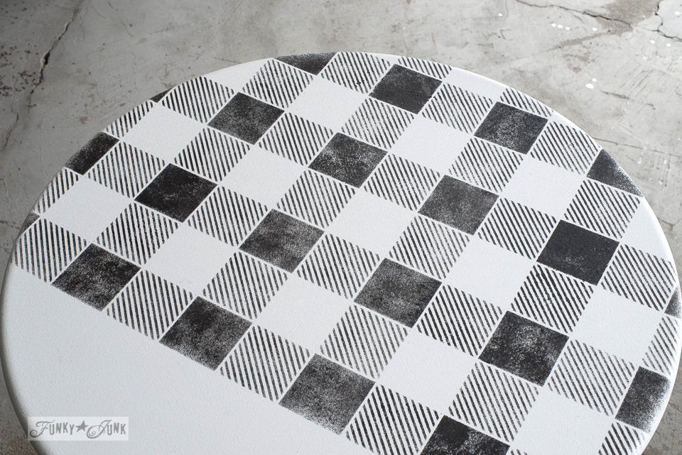 How to match up the Buffalo Check pattern to stencil the top of a white side table, with Funky Junk's Old Sign Stencils | funkyjunkinteriors.net