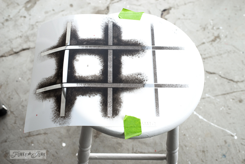 How to stencil a plaid effect with Plaid Shirt stencil from Funky Junk's Old Sign Stencils | funkyjunkinteriors.net