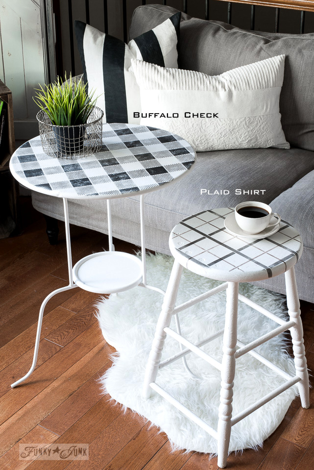 White and black themed side table and stool, stenciled with Buffalo Check & Plaid Shirt, using Funky Junk's Old Sign Stencils